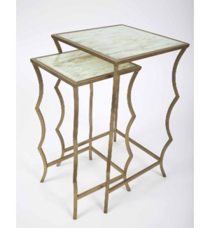 Penelope Nesting Tables Set of 2 in Antique Brass with Glass Top in Wrinkled Lined Finish