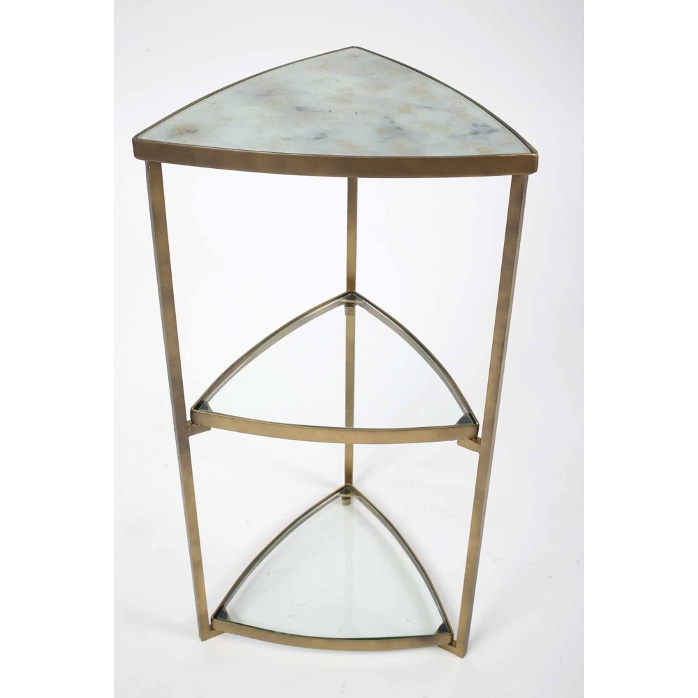 3 Tier Triangle Accent Table in Antique Brass with Glass Top in Smooth Stone Finish
