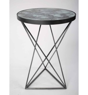 Ava Accent Table in Antique Silver w/Round Glass Top in Atmospheric Finish