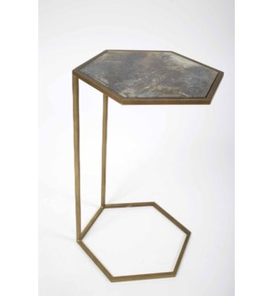 Wyatt Accent Table in Antique Brass w/Glass Top in Orion Gray Finish