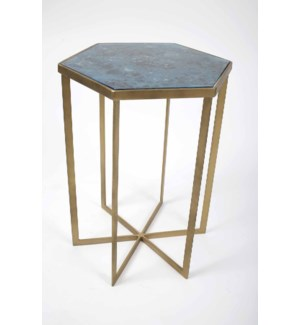 Leo Accent Table in Antique Brass w/Glass Top in Shadow Blue Finish