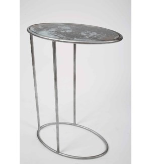Everly Accent Table in Antique Silver w/Glass Top in Lava Gray