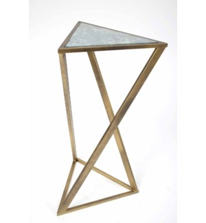 Triangle Twist Accent Table in Antique Brass with Glass Top in Cathedral Stone Finish