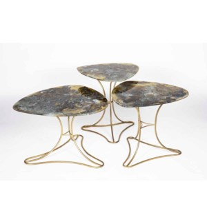 Large Lily Pad Table in Antique Gold with Top in Rio Sky Finish