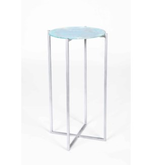 Mia Accent Table in Antique Silver with Top in Hampton Surf Finish