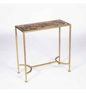 Elena Accent Table in Antique Gold with Top in Topaz Finish