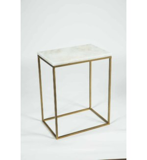 Luna Accent Table in Antique Brass w/ White Marble Top