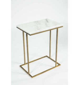 Chandler Accent Table in Antique Brass w/ White Marble Top