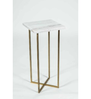 Grayson Accent Table in Antique Brass w/ White Marble Top