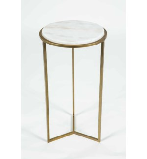 Peyton Accent Table in Antique Brass w/ White Marble Top