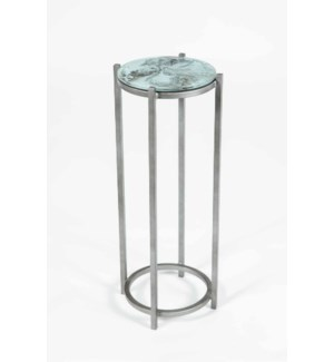 Quinn Accent Table in Antique Silver w/ Top in Ashland Slate