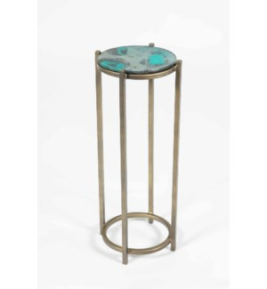Quinn Accent Table in Antique Brass w/ Top in Dew Drop Finish