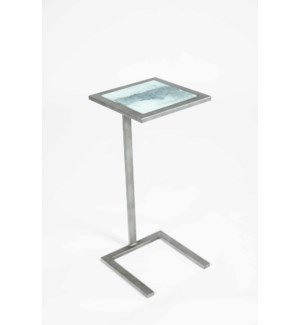 Dawson Accent Table in Antique Silver w/ Top in Thundering Cloud Finish