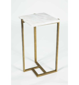 Russell Accent Table in Antique Brass w/ White Marble Top