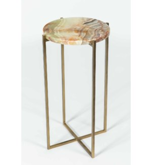 Mia Accent Table in Antique Brass w/ Green Talan Onyx Top