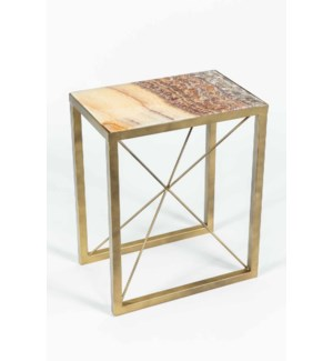 Sebastian Accent Table in Antique Brass w/ Red Onyx Top