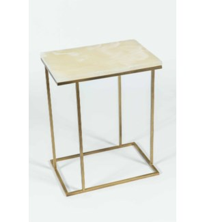 Chandler Accent Table in Antique Brass w/ White Onyx Top