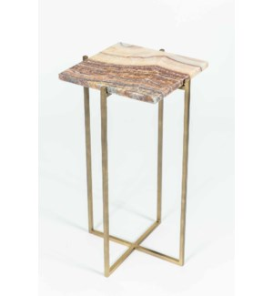 Mia Accent Table in Antique Brass w/ Red Onyx Top