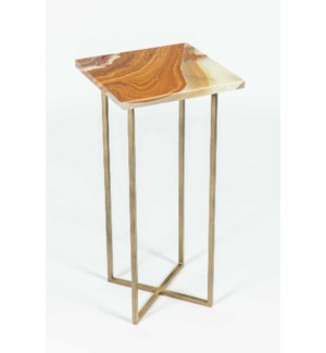 Grayson Accent Table in Antique Brass w/ Green Talan Onyx Top