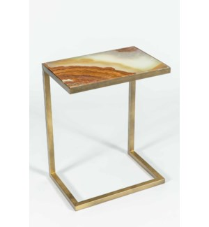 Aria Accent Table in Antique Brass w/ Green Talan Onyx Top