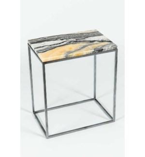 Luna Accent Table in Antique Silver w/ Zebra Onyx Top