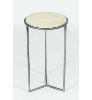 Peyton Accent Table in Antique Silver w/ Cream Onyx Top
