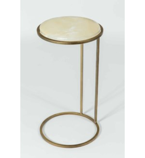 Josie Accent Table in Antique Brass w/ White Onyx Top