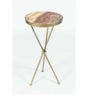Ella Accent Table in Antique Brass with Red Onyx