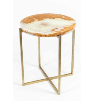 Miles Side Table in Antique Brass with Green Talan Onyx