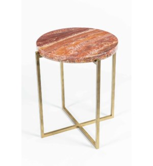 Miles Side Table in Antique Brass with Red Onyx
