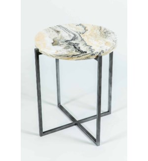 Miles Side Table in Antique Silver with Zebra Onyx
