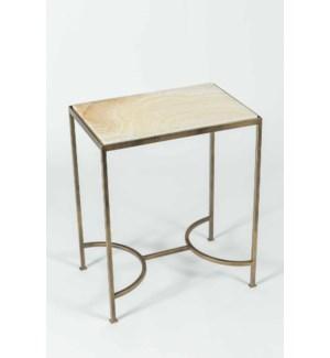 Elena Accent Table in Antique Brass w/ Cream Onyx Top