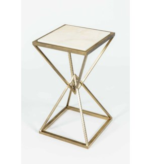 Malcolm Accent Table in Antique Brass with Cream Onyx