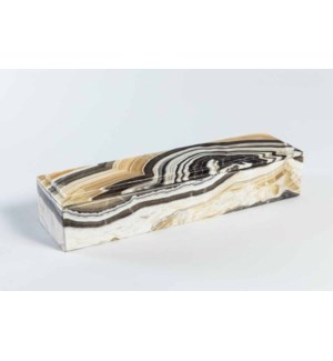 Long Rectangle Onyx Box with Lid in Zebra