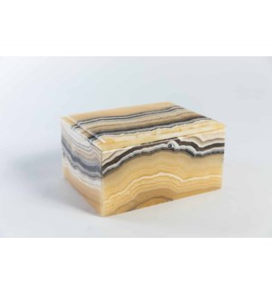 Tall Rectangle Onyx Box with Lid in Zebra