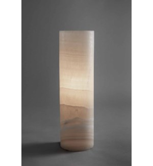 Small Cylinder Lamp in White Ice Onyx