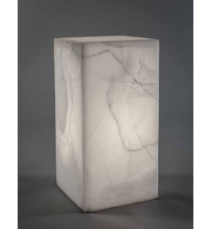 Cube Lamp in White Ice Onyx