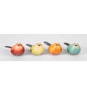 Set of 4 Colour Birds w/Tail