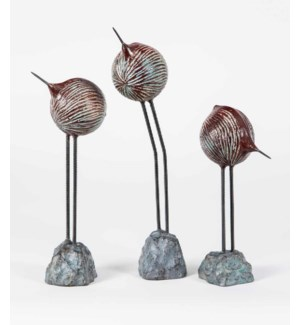 Set of 3 Birds on Rock in Rojo