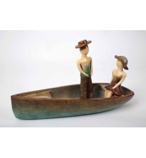 Canoe w/Couple Sculpture
