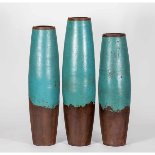 Large Barrel Floor Vase In Smoked
