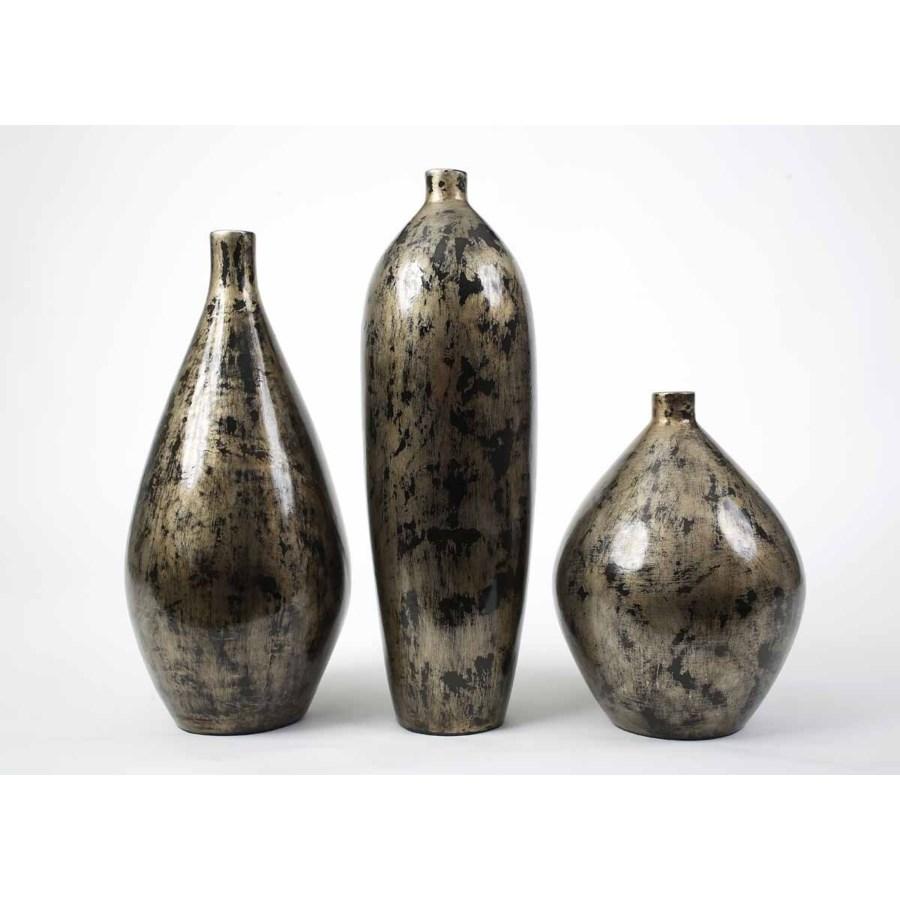 Large Bulb Vase in Oiled Steel