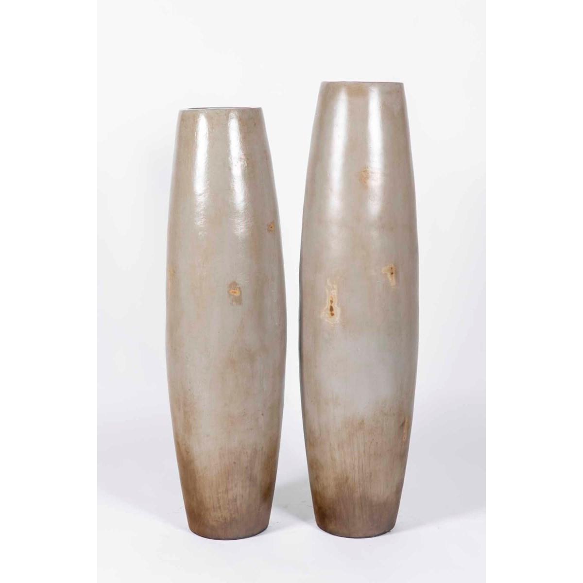Small Barrel Floor Vase in Sandalwood Finish