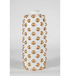 Large Studded Vase in Bianca w/ Gold Dots