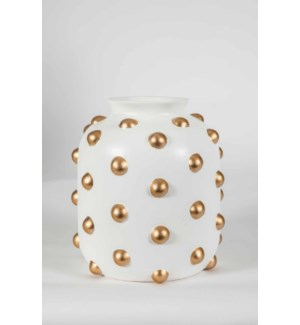 Small Studded Vase in Bianca w/ Gold Dots