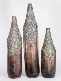 Set of 3 Floor Volcano Vases in Moss Green Finish