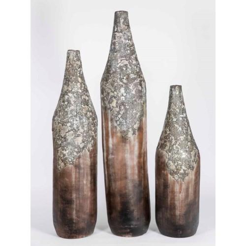 Set of 3 Volcano Floor Vases in Moss Green Finish
