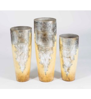 Set of 3 Floor Cone Vases in Silver Finish