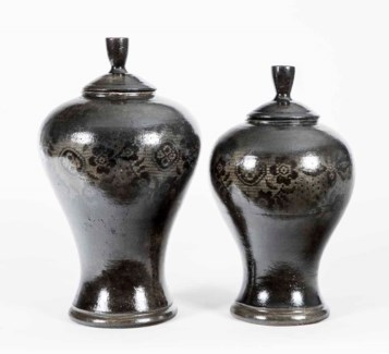 Set of 2 Tibor Vases in Curtain Stone Finish