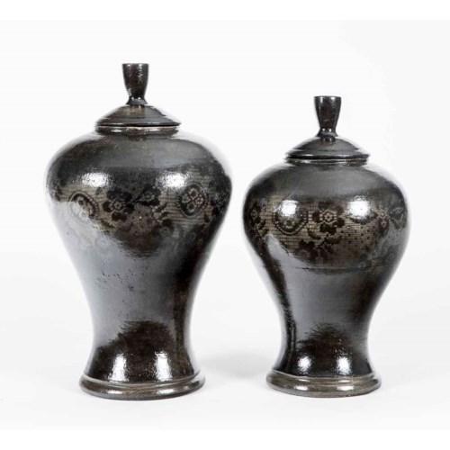 Set of 2 Tibor Vases in Curtain Stone Finish